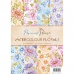 Papier do scrapbookingu A4 WRS Papercraft House WATERCOLOUR FLORALS zestaw 40 arkuszy