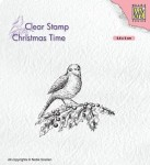 Stempel akrylowy Nellie's Choice Clear Stamp CT032 CHRISTMAS TIME Bird on hobbybranch