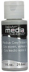 Fluid akrylowy DecoArt Fluid Acrylics MEDIUM GREY VALUE 29,6ml