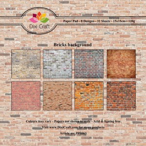 Papier do scrapbookingu 15x15cm Dixi Craft BRCIKS BACKGROUND zestaw 32 arkuszy