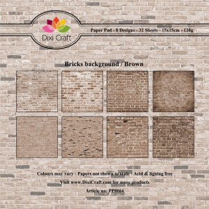 Papier do scrapbookingu 15x15cm Dixi Craft BRCIKS BACKGROUND BROWN zestaw 32 arkuszy