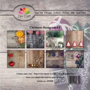 Papier do scrapbookingu 15x15cm Dixi Craft CHRISTMAS BACKGROUND zestaw 32 arkuszy