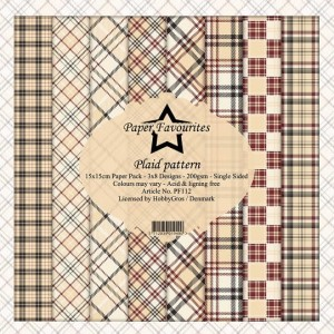 Papier do scrapbookingu 15x15cm Dixi Craft PLAID PATTERN zestaw 24 arkuszy