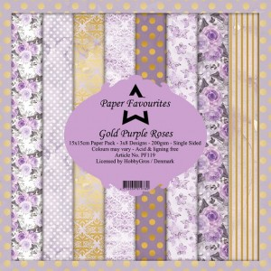 Papier do scrapbookingu 15x15cm Dixi Craft GOLD PURPLE ROSES zestaw 24 arkuszy