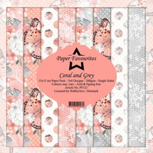 Papier do scrapbookingu 15x15cm Dixi Craft CORAL AND GREY zestaw 24 arkuszy