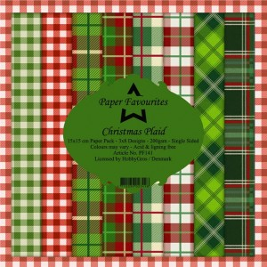 Papier do scrapbookingu 15x15cm Dixi Craft CHRISTMAS PLAID zestaw 24 arkuszy