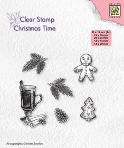 Zestaw stempli akrylowych Nellie's Choice Clear Stamps CT037 CHRISTMAS TIME Christmas decorations