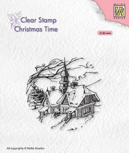 Stempel akrylowy Nellie's Choice Clear Stamp CT038 CHRISTMAS TIME Snowy Christmas scene