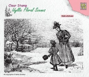 Stempel akrylowy Nellie's Choice Clear Stamp IFS024 IDYLLIC FLORAL SCENES Vintage wintery scene