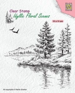 Stempel akrylowy Nellie's Choice Clear Stamp IFS025 IDYLLIC FLORAL SCENES Wintery water's edge