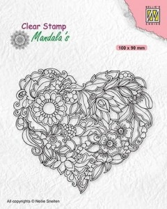 Stempel akrylowy Nellie's Choice Clear Stamp CSMAN001 MANDALA'S Flower heart