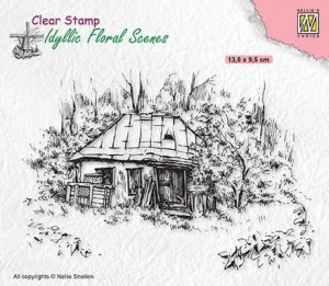 Stempel akrylowy Nellie's Choice Clear Stamp IFS027 IDYLLIC FLORAL SCENES Old Cottage