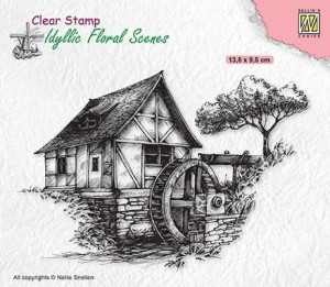 Stempel akrylowy Nellie's Choice Clear Stamp IFS028 IDYLLIC FLORAL SCENES Water-mill