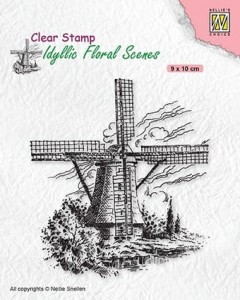 Stempel akrylowy Nellie's Choice Clear Stamp IFS029 IDYLLIC FLORAL SCENES Wind-mill