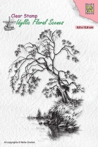Stempel akrylowy Nellie's Choice Clear Stamp IFS030 IDYLLIC FLORAL SCENES Tree on waterside