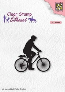Stempel akrylowy Nellie's Choice Clear Stamp SIL072 SILHOUET Cyclist