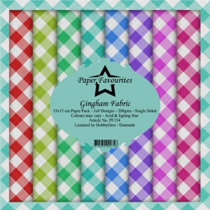 Papier do scrapbookingu 15x15cm Dixi Craft GINGHAM FABRIC zestaw 24 arkusz