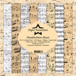 Papier do scrapbookingu 15x15cm Dixi Craft HANDWRITTEN MUSIC zestaw 24 arkusz