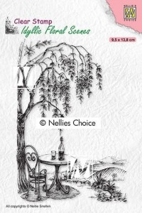 Stempel akrylowy Nellie's Choice Clear Stamp IFS031 IDYLLIC FLORAL SCENES Outside seating with tree