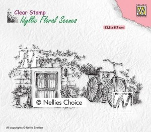Stempel akrylowy Nellie's Choice Clear Stamp IFS033 IDYLLIC FLORAL SCENES Old door with bike