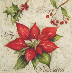 Serwetka do decoupage 2185 Holly Poinsettia AMB