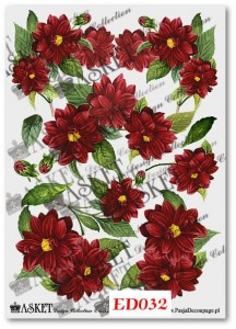 Papier do decoupage Asket ED 032 Dalie bordowe
