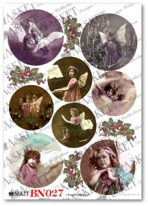 Papier do decoupage Asket BN 028 Winter balls with sweet angels II