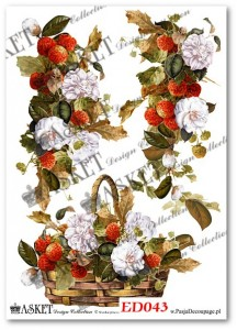 Papier do decoupage Asket ED 043 Kwiatowo - owocowe girlandy