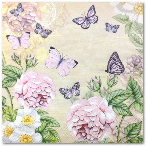 Serwetka do decoupage 3419 Motyle botanical cream