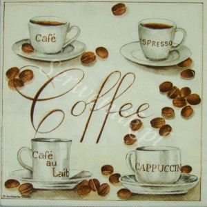Serwetka do decoupage 2515 Coffee - cafe, espresso, cappucino, laite AMB