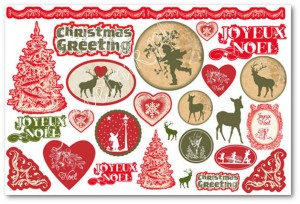 Papier ryżowy Stamperia DFS 237 Christmas Greeting green&red