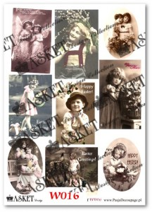 Papier do decoupage Asket W 016 Vintage children
