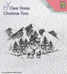Stempel akrylowy Nellie's Choice Clear stamp CT018 CHRISTMAS TIME Winter Landscape with deer