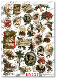 Papier do decoupage Asket BN 127 Vintage Christmas items