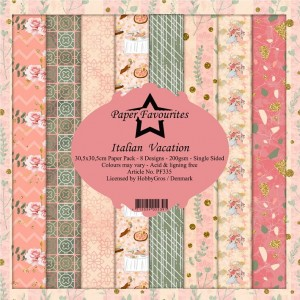 Papier do scrapbookingu 30,5x30,5cm Dixi Craft ITALIEN VACATION zestaw 8 arkuszy