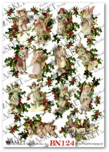 Papier do decoupage Asket BN 124 Victorian Angels with Holly