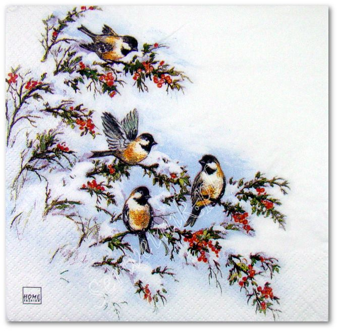Serwetka do decoupage 3000 Ptaszki na zimowej gałązce HF